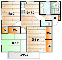 KMハイツVI A棟[1階]の間取り