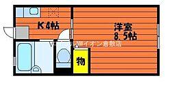 岡山県倉敷市生坂の賃貸アパートの間取り
