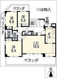 三旺マンション猫ヶ洞601号室[6階]の間取り