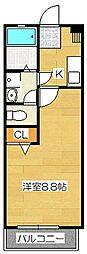 クレフラスト朱雀II[204号室]の間取り