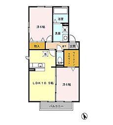 セジュール マルベリー B[2階]の間取り