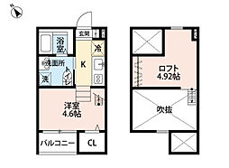 愛知県名古屋市西区枇杷島4丁目の賃貸アパートの間取り