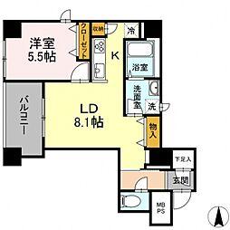 グランジット神田司町 5階1LDKの間取り