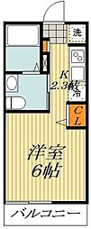 APEX平井 3階ワンルームの間取り