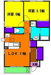静岡県磐田市三ケ野の賃貸アパートの間取り