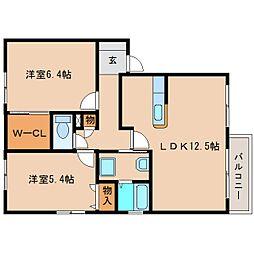 静岡県静岡市清水区石川の賃貸アパートの間取り