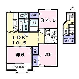 千葉県松戸市東松戸4丁目の賃貸アパートの間取り