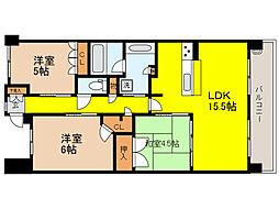 神戸新交通六甲アイランド線 アイランドセンター駅 徒歩9分の賃貸マンション 2階3LDKの間取り
