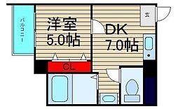 大阪ドームインながほり[303号室]の間取り