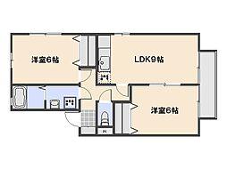 広島県広島市佐伯区八幡4丁目の賃貸アパートの間取り