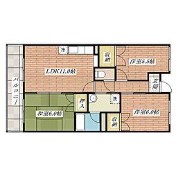 グリーンシャトーII[6階]の間取り