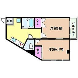 兵庫県神戸市灘区箕岡通1丁目の賃貸アパートの間取り