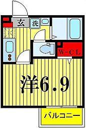 ライフタウン西新井 2階1Kの間取り