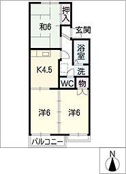 西津第3コーポ[1階]の間取り