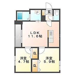 北海道札幌市東区北十七条東18丁目の賃貸マンションの間取り