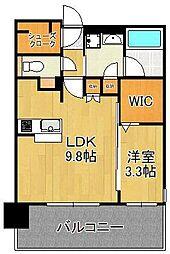 グランフォーレ小倉シティタワー 7階1LDKの間取り