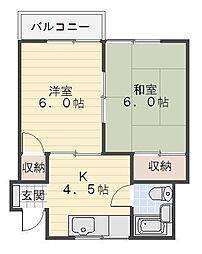 奥山アパート[2号室]の間取り