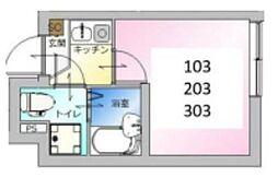 東京メトロ日比谷線 北千住駅 徒歩9分の賃貸アパート 1階1Kの間取り