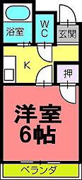 ハイツ福岡[202号室]の間取り