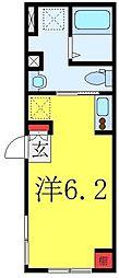 都営三田線 板橋本町駅 徒歩4分の賃貸マンション 3階ワンルームの間取り