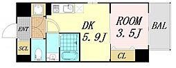 サムティ福島Rufle 2階1DKの間取り