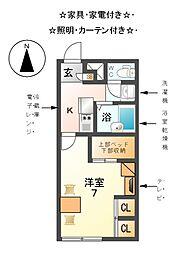 愛知県あま市新居屋茶屋の賃貸アパートの間取り