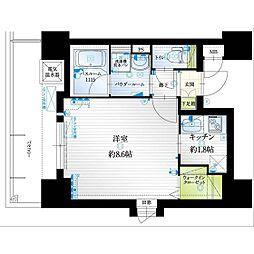 福岡市地下鉄七隈線 薬院大通駅 徒歩6分の賃貸マンション 6階1Kの間取り