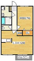 福岡県太宰府市向佐野2丁目の賃貸アパートの間取り
