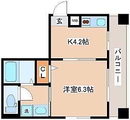 JR東海道・山陽本線 神戸駅 徒歩12分の賃貸マンション 3階1Kの間取り