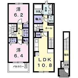 JR東海道・山陽本線 河瀬駅 徒歩16分の賃貸アパート 2階2LDKの間取り