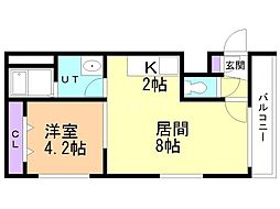 Steady State Asabu 4階1LDKの間取り
