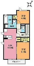 埼玉県北足立郡伊奈町大字小室の賃貸アパートの間取り