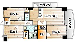 福岡県北九州市八幡西区紅梅2丁目の賃貸アパートの間取り