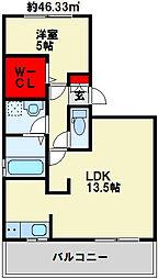 桜橋山荘 D-room[206号室]の間取り