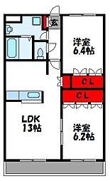 シーサイドヒルズHK-II[2階]の間取り