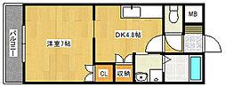 アザレアハイツハンダ第2[3階]の間取り