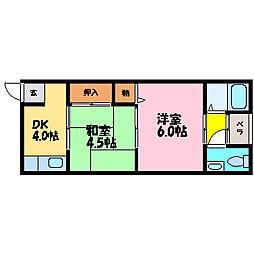 滋賀県大津市唐崎1丁目の賃貸アパートの間取り