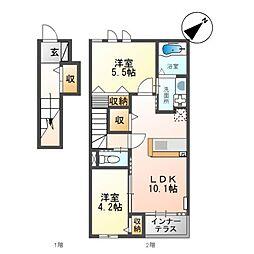 合田 晋成様アパート2期新築工事 2階2LDKの間取り