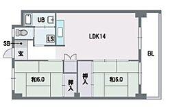 福岡県福岡市南区平和2丁目の賃貸マンションの間取り