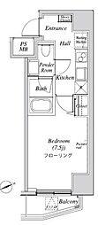 ニューガイア リルーム芝28 2階1Kの間取り