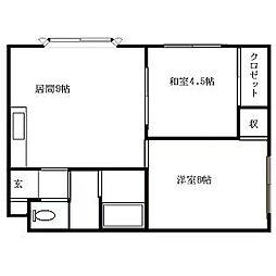 北海道札幌市南区藤野二条12丁目の賃貸アパートの間取り