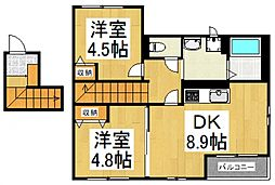 東大和市芋窪4丁目新築アパート[2階]の間取り