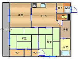 長崎県長崎市勝山町の賃貸マンションの間取り