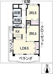 愛知県豊田市美里5丁目の賃貸マンションの間取り