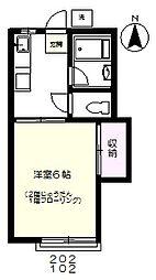 JR中央線 国分寺駅 徒歩13分の賃貸アパート 1階1Kの間取り