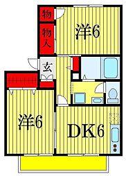 コアロード B棟[2階]の間取り