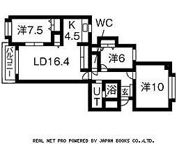 グレイス北円山旭堂第11[201号室]の間取り