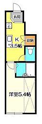 東京都小金井市本町2丁目の賃貸アパートの間取り