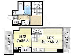 大阪モノレール本線 少路駅 徒歩11分の賃貸マンション 3階1LDKの間取り