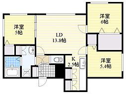 北海道札幌市中央区南13条西8丁目の賃貸マンションの間取り